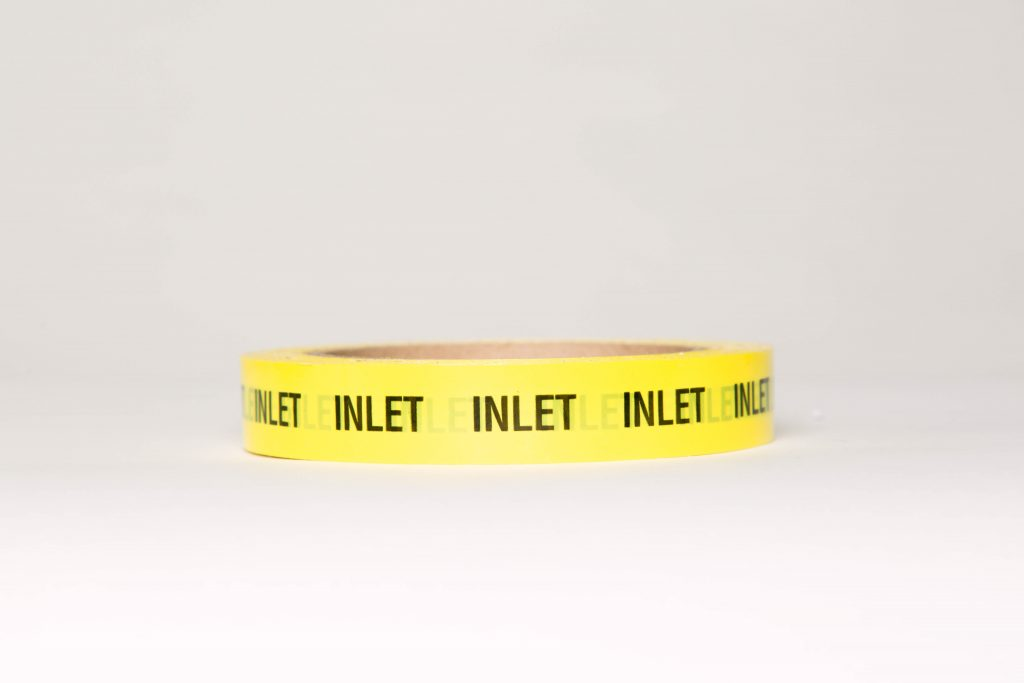 Yellow tape with inlet writing