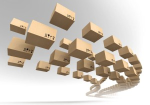 16564936 - stream of flying cardboard boxes  fast accuracy delivery metaphor